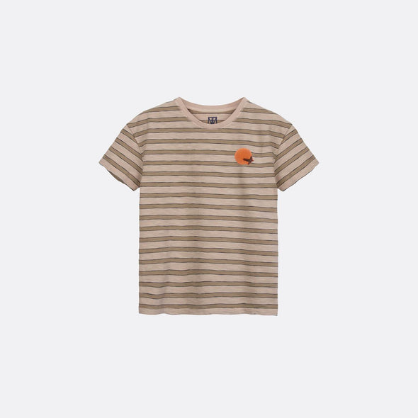 Pale peach round neck t-shirt with sunset chest print.