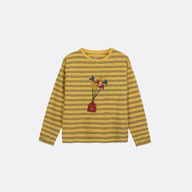 Yellow striped round neck t-shirt with frontal migration print.
