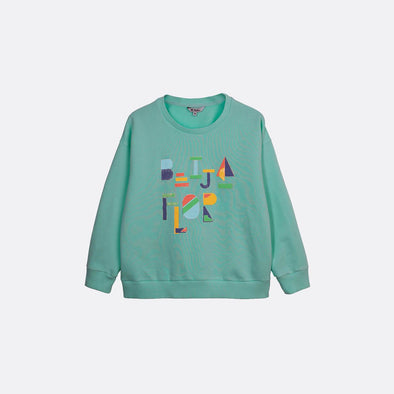 "Blue round neck sweatshirt with ""Beija Flor"" print on the front."