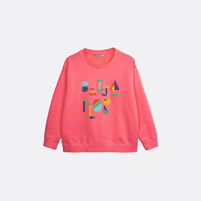 "Bright pink round neck sweatshirt with ""Beija Flor"" print on the front."