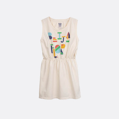 "Neutral tank top dress with ""Beija Flor"" print."