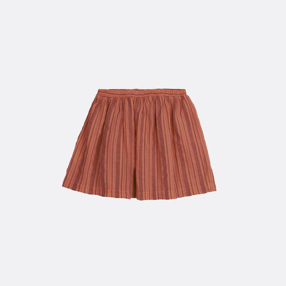 Brick mini skirt with elastic waistband.