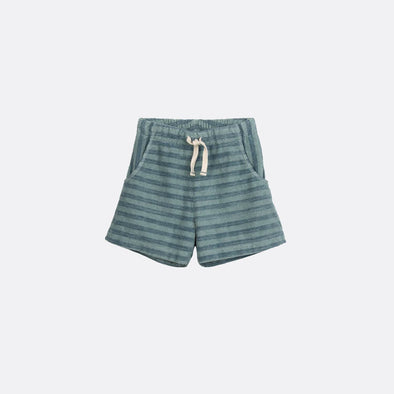 Blue striped basic shorts.