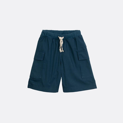 Navy blue cargo shorts with elastic waistband.