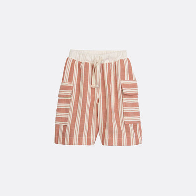 Striped cargo shorts with elastic waistband.