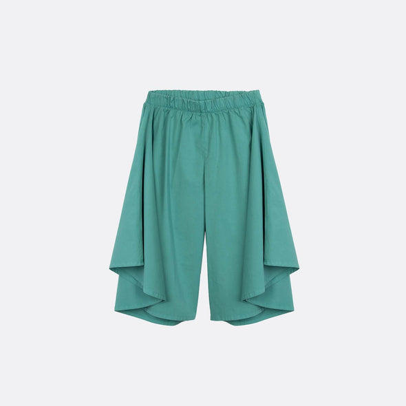 Emerald wide-leg pants with elastic waistband.