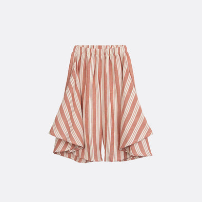 Striped wide-leg pants with elastic waistband.