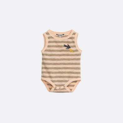 Pale peach striped round neck short sleeve body with press buttons.