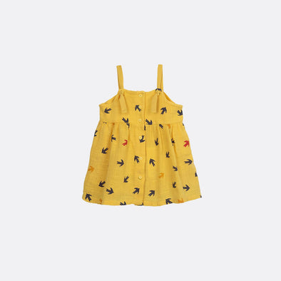 Yellow dress with all-over swallow print.