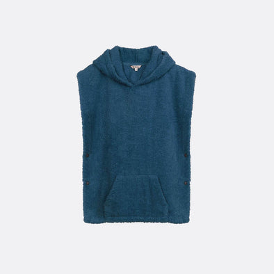 Blue towell poncho with embroidery.