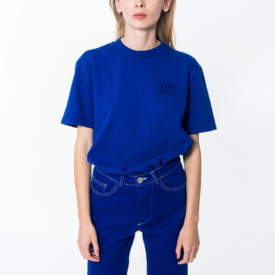 Unisex blue regular fit crew neck t-shirt with embroidered logo.