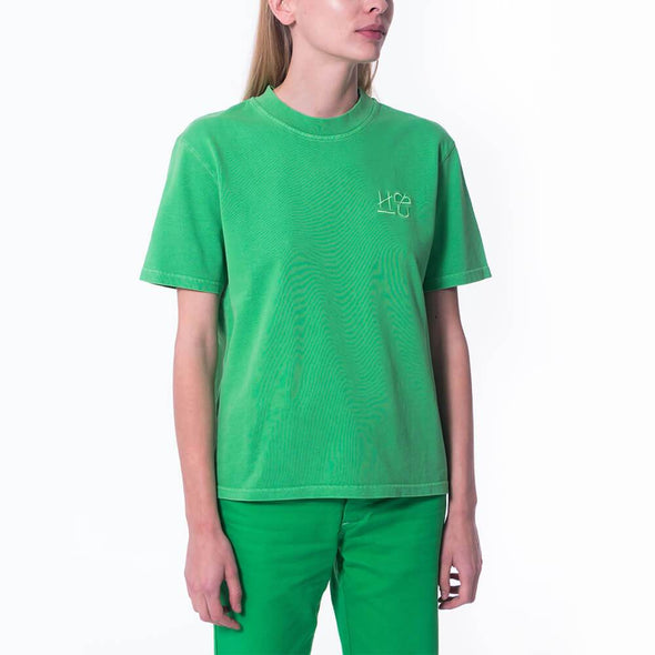 Unisex green regular fit crew neck t-shirt with embroidered logo.