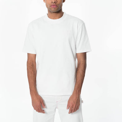 Unisex white regular fit crew neck t-shirt with embroidered logo.