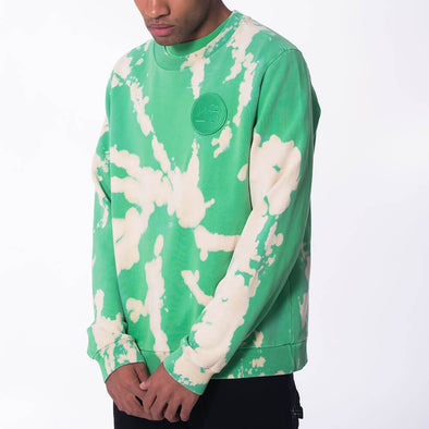 Unisex regular fit crew neck green tie-dye sweatshirt.