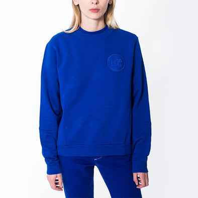 Unisex blue regular fit crew neck sweatshirt with embroidered logo.