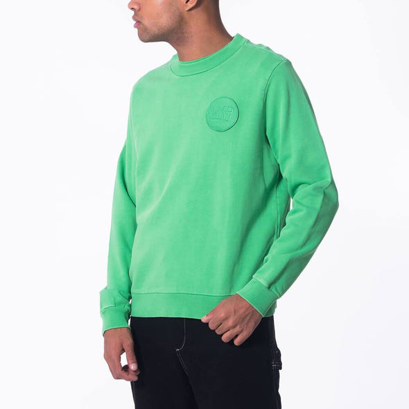 Unisex green regular fit crew neck sweatshirt with embroidered logo.