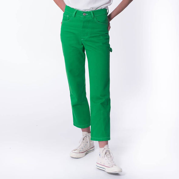 Unisex regular fit green jeans.