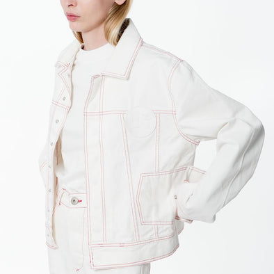 Unisex white denim jacket with hidden press studs and an embroidered logo patch.