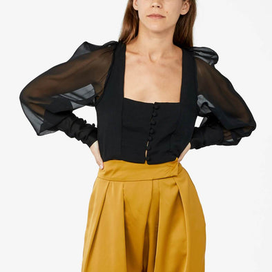 Black square neck top with sheer balloon sleeves.