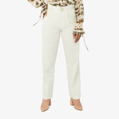 High waisted straight cut trousers in beige linen blend.