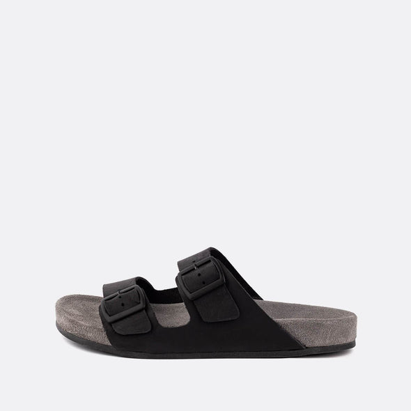 Double-strap adjustable sandals in black with grey sole.