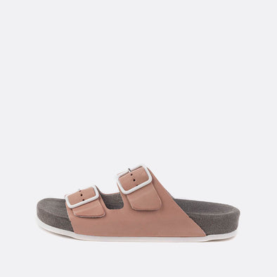 Double-strap adjustable sandals in pink with grey sole.
