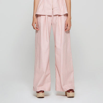 White and pink stripes trousers with wide-leg silhouette.