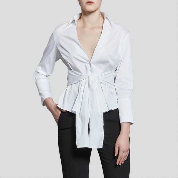 White belted blouse.