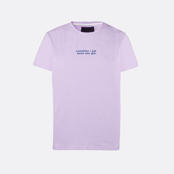 Purple t-shirt with blue embroidery on the chest.