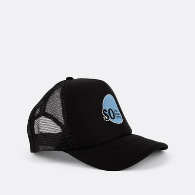 Brand trucker hat in black and blue with front logo print.