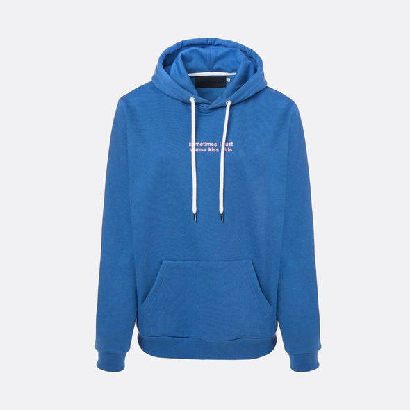 Blue hoodie with pink embroidery on the chest.