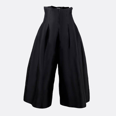 100% polyester wide leg culotte pants in black with front pleats.