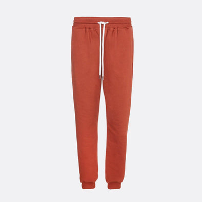 Orange sweatpants with rib and elastic waist.