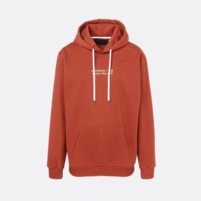Orange hoodie with beige embroidery on the chest.