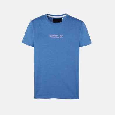 Blue t-shirt with pink embroidery on the chest.