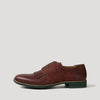 Bordeaux and dark green versatile lace-up derbies fuse premium Italian leather with fine cork fabric.