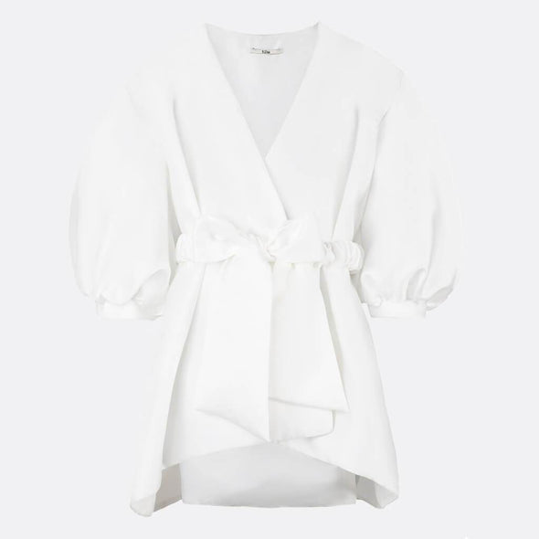 100% polyester kimono white dress with belt and front bow.