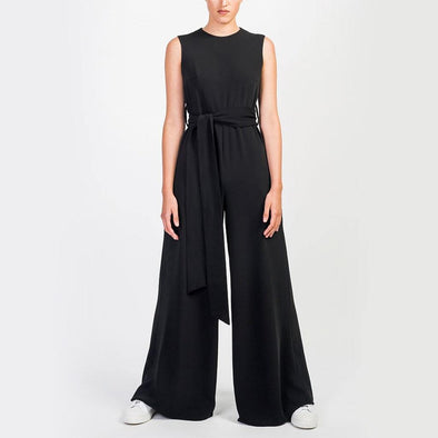 Full-length sleeveless black jumpsuit with wide-leg and adjustable tie belt and side seam pockets.