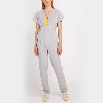 I-line grey jumpsuit, V-neck with exposed zipper with kimono sleeves and back with invisible zipper.