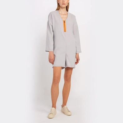I-line grey playsuit, mid-thigh length/short, V-neck with exposed zipper and kimono sleeves with invisible zipper on the back.