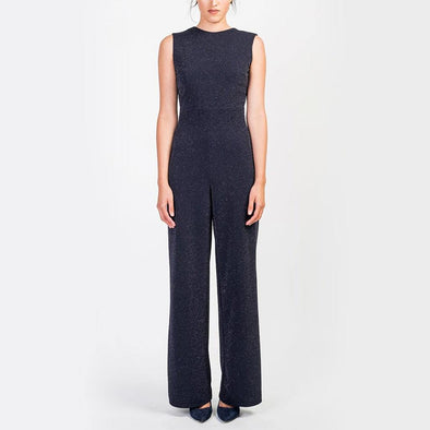 Wide leg black sleevess jumpsuit, adjusted on the waist, round neckline with wide opening on the back and invisible zipper.