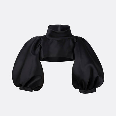 100% polyester black top with kimono ballon sleeves and high neck collar.