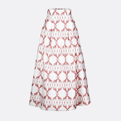 100% polyester high waist long skirt with side pockets and buzina exclusive pattern in white and red.