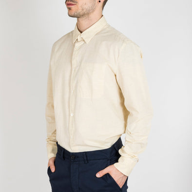 Long sleeved, classic plain shirt in a textured, slub-linen fabric.