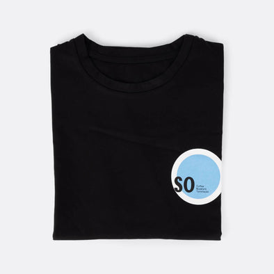 100% cotton black t-shirt with brand logo chest print.