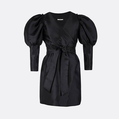100% polyester midi wrap dress in black with long ballon slevees and long cuffs.