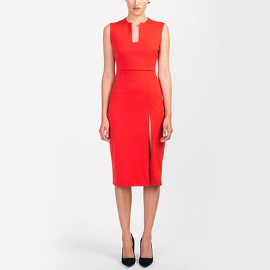 Slim fit red midi length dress, geometric neckline side slit.