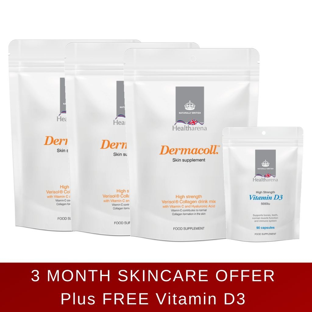 Dermacoll™ Collagen Drink Mix, Skin Supplement - NEW Eco-Friendly Pack - 3 months supply + FREE Vitamin D3