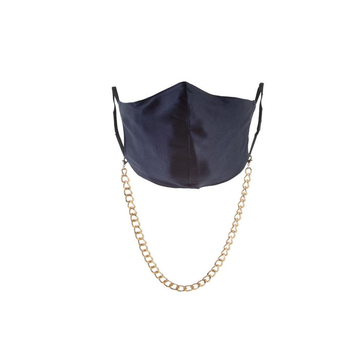 Tokyo Silk Mask in Navy + Madrid Chain in Gold