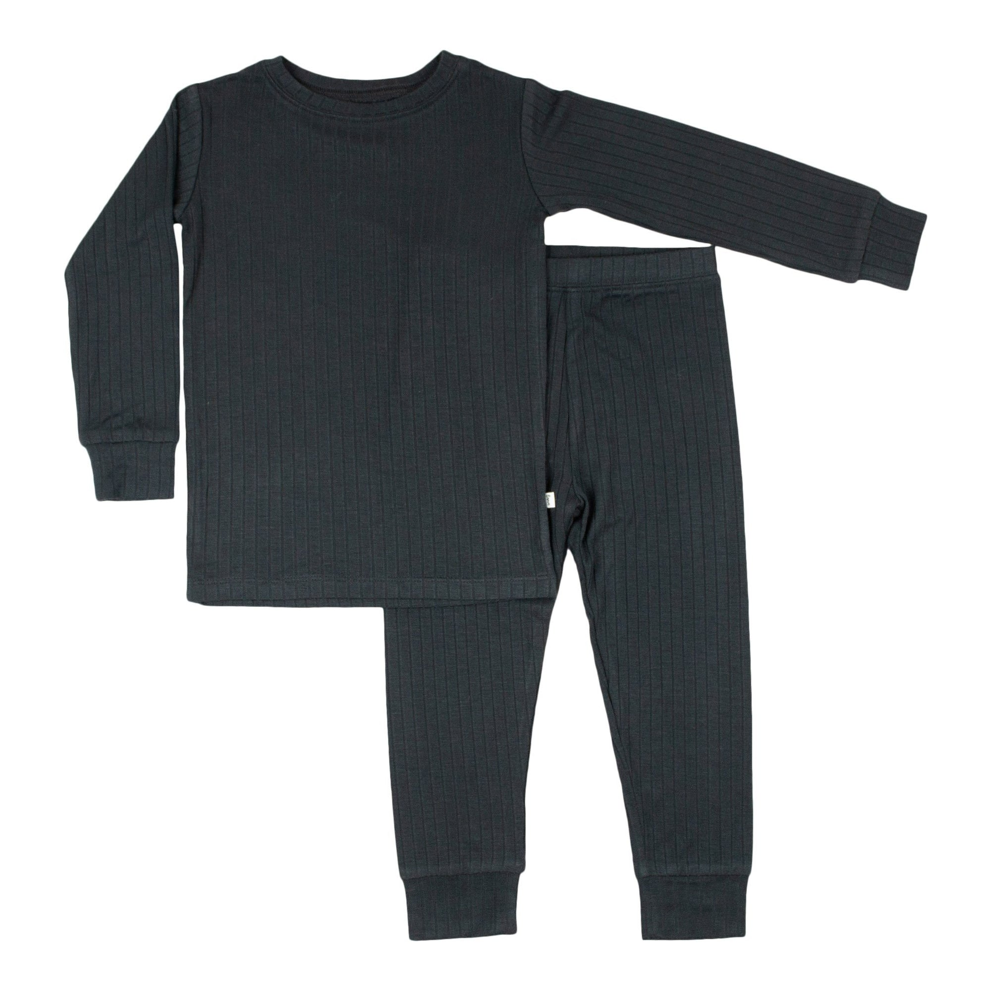 Antique Black Ribbed Pajama Set
